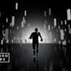 El plano 2 en VJ Pack Techno Dimension muestra un loop infinito de un personaje corriendo hacia un fuerte resplandor en el horizonte